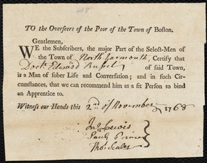Document of indenture: Servant: Akley, Mary. Master: Russel, Edward. Town of Master: North Yarmouth. Selectmen of the twon of North Yarmouth autograph document signed to the Overseers of the Poor of the town of Boston: Endorsement Certificate for Edward Russel.