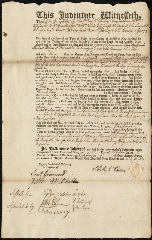 Document of indenture: Servant: Bout, Peter. Master: Downs, Shubael. Town of Master: Harwich