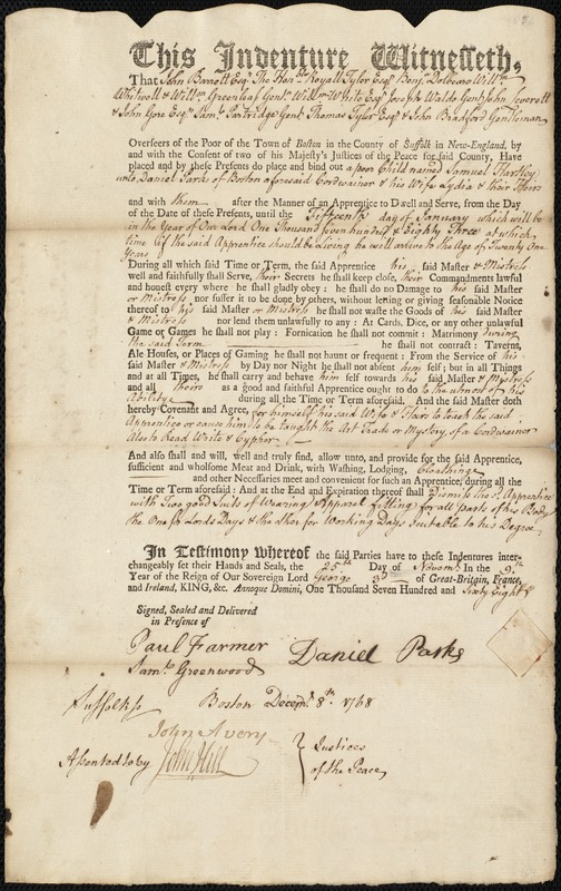 Document of indenture: Servant: Hartley, Samuel. Master: Parks, Daniel. Town of Master: Boston