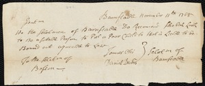 Document of indenture: Servant: Vokes, James Hudson. Master: Lovell, Shubael. Town of Master: Barnstable. Selectmen of the town of Barnstable autograph document signed to the Overseers of the Poor of the town of Boston: Endorsement Certificate for Shubael Lovell.