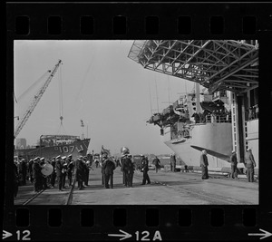 Band playing as Wasp carrier arrives in port at South Boston after astronauts pickup