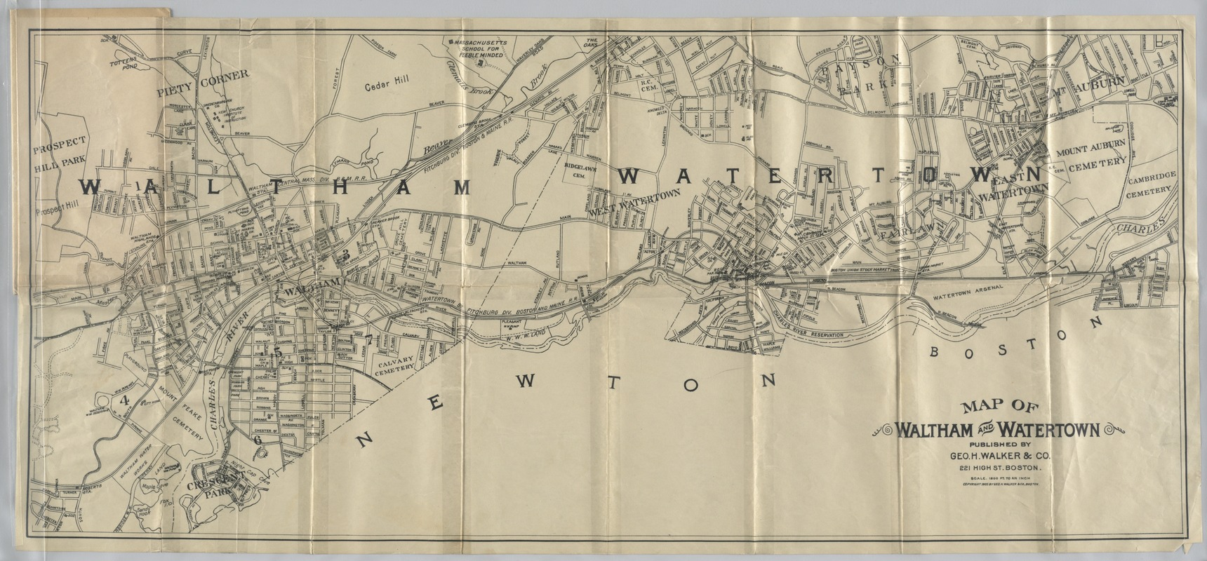 Map of Waltham and Watertown - Digital Commonwealth
