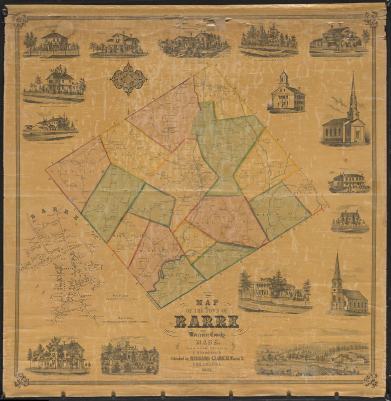 Map of the town of Barre, Worcester County, Mass.
